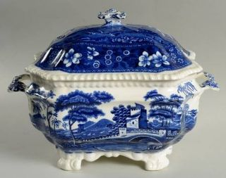 Spode Tower Blue (No #,Older,Gadroon) Tureen & Lid, Fine China Dinnerware   Blue