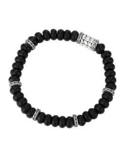 Mens Batu Bedeg Beaded Bracelet, Black/Silver   John Hardy   Black