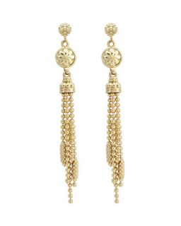 18k Gold Caviar Chain Tassel Earrings   Lagos   Gold (18k )