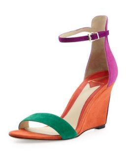 Roberta Suede Wedge Sandal, Orange   B Brian Atwood   Orange (38.5B/8.5B)