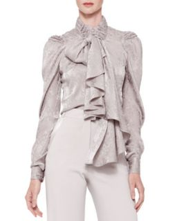 Womens Long Sleeve Tie Neck Blouse, Gray   Zac Posen   Heather grey (6)