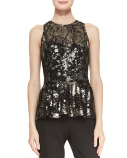 Womens Metallic Lace Peplum Top   Lela Rose   Black metallic (16)