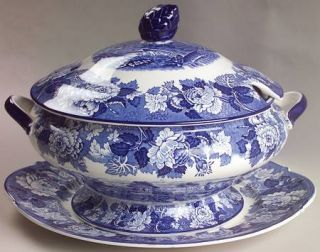 Enoch Wood & Sons English Scenery Blue (Blue Backs,Smooth) Tureen & Lid w/Underp