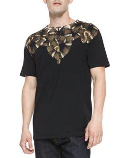 Mens Snake Print Jersey Tee, Black   Marcelo Burlon   Black (MEDIUM)