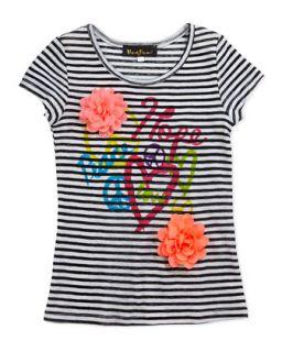 Striped Peace, Hope & Love Graphic Rosette Tee, Black/White,
