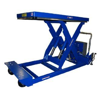 "Beacon Portable Scissor Lift Table; Platform Width: 24"" to 48""; Platform Length: 48"" to 72""; Capacity (LBS): 4, 000; Raised Height: 47""; Lowered Height: 12""; Travel Time (Sec.): 28; Standard Control: Hand Control with Battery;"