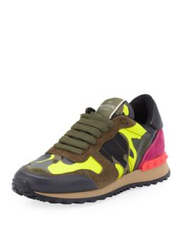 Rockstud Camo Print Sneaker, Green/Yellow   Valentino   Green/Yellow (39.0B/9.