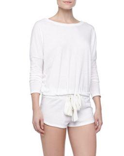 Womens Heather Slub Drawstring Lounge Shorts, Cloud   Eberjey   Cloud