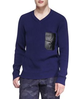 Mens V Neck Sweater with Faux Leather Pocket, Navy   Valentino   Navy (LARGE)