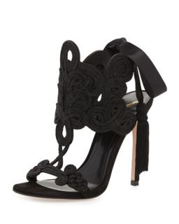 Lucrezia Tie Back Embroidery Sandal   B Brian Atwood   Black (36.5B/6.5B)