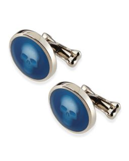 Mens Skull Under Glass Cuff Links, Blue   Alexander McQueen   Blue