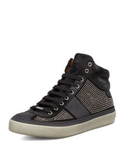 Mens Belgravia Mini Studded High Top Sneaker   Jimmy Choo   Black/Silver (42.