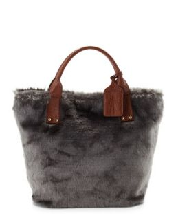 Oversized Faux Fur Tote Bag, Gray/ Brown   Adrienne Landau