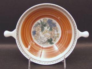 Goebel Burgund Lugged Soup Bowl, Fine China Dinnerware   Country,Rust Rim,Yellow
