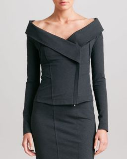 Womens Off the Shoulder Jacket, Charcoal   Donna Karan   Charcoal (10)