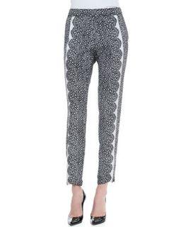 Womens Cropped Aloe Lace Pants, Black/White   Yoana Baraschi   Black/White (X