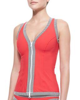 Womens Stripe Trim Underwire Swim Top   Karla Colletto   Red (10)