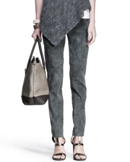 Womens Slim Suede Ankle Pants   Brunello Cucinelli   Army (46/10)