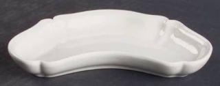 Red Cliff Heirloom Bone Dish, Fine China Dinnerware   All White,Scalloped