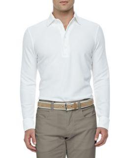 Mens Huck Lace Cotton Long Sleeve Polo, White   Loro Piana   White (X LARGE)