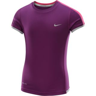 NIKE Girls Miler Short Sleeve Running T Shirt   Size: Xl, Grape/silver
