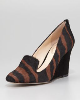 Fadi Zebra Printed Calf Hair Wedge Pump, Saddle/Black   VC Signature