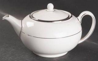 Wedgwood Carlyn Teapot & Lid, Fine China Dinnerware   White, Platinum Verge, Pla
