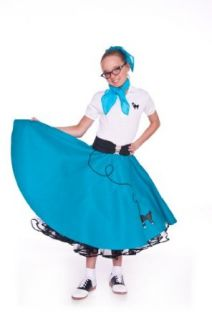 Hip Hop 50s Shop Large Child Poodle Skirt   Size 10,11,12   Teal: Clothing