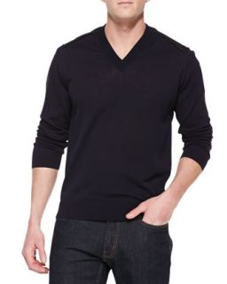 Mens V Neck Sweater with Contrast Back Panel, Navy   Lanvin   Navy (LARGE)