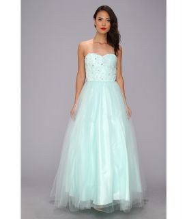 Unique Vintage Tulle Strapless Gown Womens Dress (Blue)