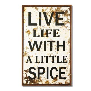 "Adeco Vintage Decorative Wall Plaque Saying ""Live Life With A Little Spice"" Home Decor"