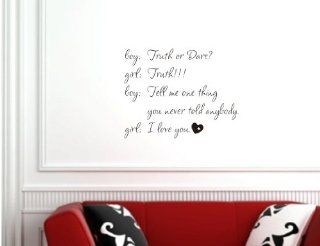 Boy and Girl Truth or Dare funny cute adorable Vinyl wall art Inspirational quotes and saying home decor decal sticker   Wall Banners