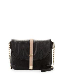 Alfie Snake Print Messenger Bag, Black   Deux Lux