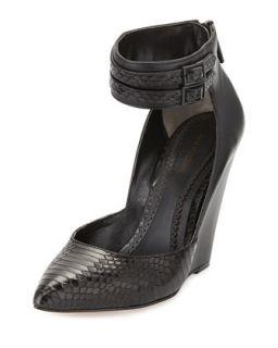 Lidia Snake Print Ankle Wrap Wedge, Black   Pour la Victoire