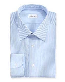 Mens Blue On Blue Mini Stripe Dress Shirt, Blue   Brioni   Blue (151/2R)