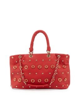 Rebecca Small Gold Studded Tote Bag, Cherry   V Couture by Kooba