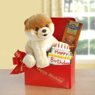 Birthday Greetings From Boo the Dog! Happy Birthday Gift Basket : Gourmet Gift Items : Grocery & Gourmet Food