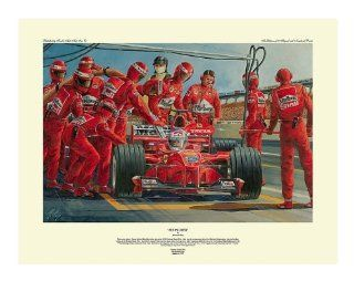 Seeing Red  Formula One Racing Print Autographed By Eddie Irvine and Mika Salo   Lithographic Prints