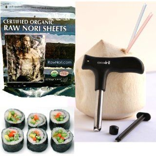 CocoDrill Coconut Opener + 50 Raw Organic Nori Sheets COMBO   Open Tap Coco Water, Fresh Tool, extractor + Sushi Roll Paper wraps KOSHER: Slicers: Kitchen & Dining