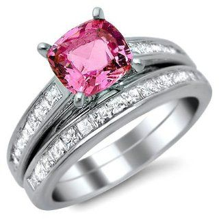 2.02ct Pink Sapphire Cushion Diamond Engagement Ring Bridal Set 14k White Gold: Jewelry
