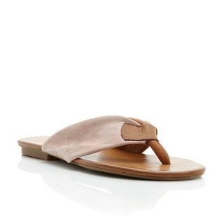 Dune Nude leather judy leather toe post flat sandal