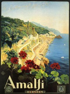 "Amalfi Is a Town and Comune in the Province of Salerno Close to Naples Italy Travel Italiana Italian 12"" X 16"" Image Size Vintage Poster Reproduction. Several more sizes available!   Prints"