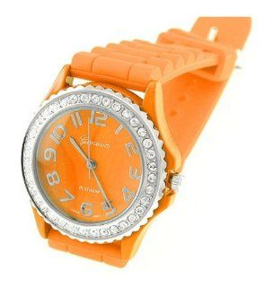 HOT Geneva Bright Orange Ceramic Silicone Fashion Watch with Crystal Accents ~ As Seen on The Blind Side Movie: Jewelry