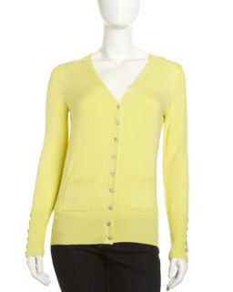 Button Front V Neck Cardigan, Citron