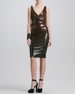 Womens Draped Sequin Cocktail Dress, Chestnut   Donna Karan   Chestnut (10)