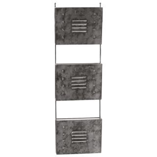Galvanized Zinc Metal Wall Mail Organizer with Mesh Backing and 3