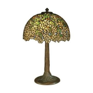 Dale Tiffany 17 in. Antique Bronze Verde Wisteria Art Glass Table Lamp TT10335