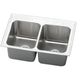 Elkay Lustertone Top Mount Stainless Steel 33x22x12.125 3 Hole Double Bowl Kitchen Sink DISCONTINUED DLR3322123