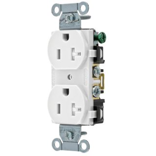 Hubbell 20 Amp 125 Volt White Indoor Duplex Wall Outlet