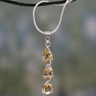 Ashanti Sterling Silver Genuine Citrine Briolette Necklace (Sri Lanka)